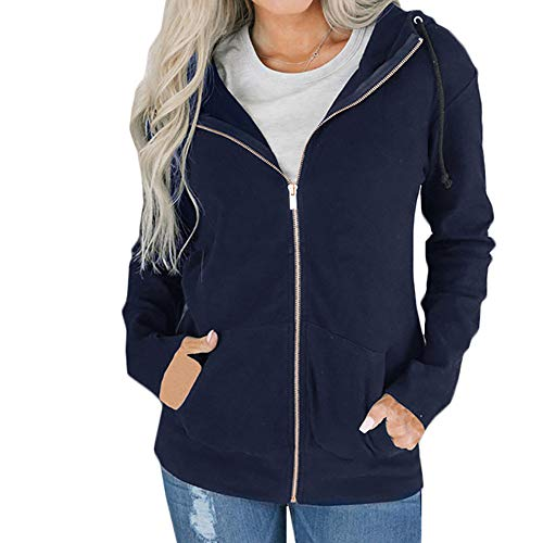 GOVOW Autumn Hooded Jacket Women Zipper Long Sleeve Sweatshirt Coat Outwear Solid with Pockets(US:14/CN:XXL,Navy) for $<!--$6.28-->