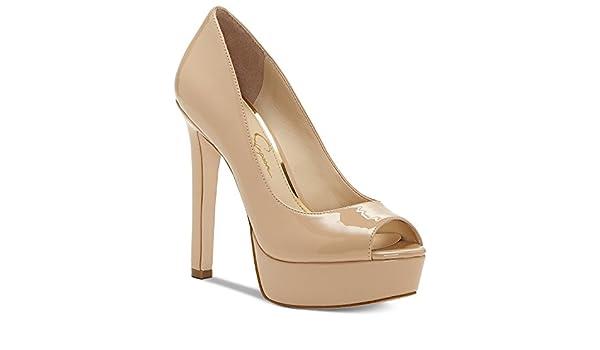 1e93445f15 Amazon.com | Jessica Simpson Bellena Sand Dune Nude Patent Peep Toe High  Heel Platform Pump (10) | Pumps
