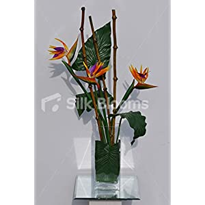 Silk Blooms Ltd Artificial Orange Bird of Paradise Vase Arrangement w/Bamboo and Fresh Touch Leaves