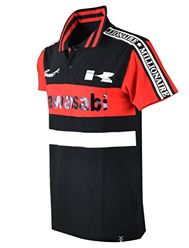 SCREENSHOTBRAND-PK11802 Mens Hipster Hip-Hop Premium Tees - Stylish Sport Fashion Racing Kawasabi Motor Polo T-Shirt - Black-2XLarge