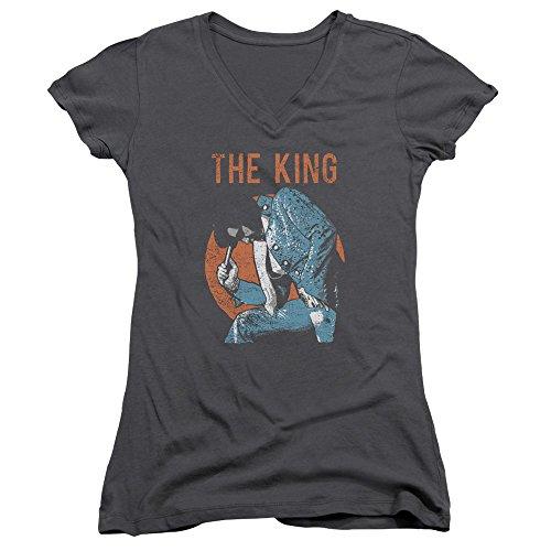 Elvis Presley - Mic in Hand - Juniors V-Neck Sheer Cap Sleeve T-Shirt - XL Gray