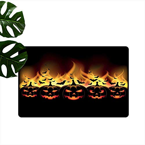 PEONIY&HOME Vintage Halloween,Floor mats Happy Halloween Image with Jack o Lanterns on Fire with Bats Holiday Kitchen Living Room Floor Mat Rug W 31