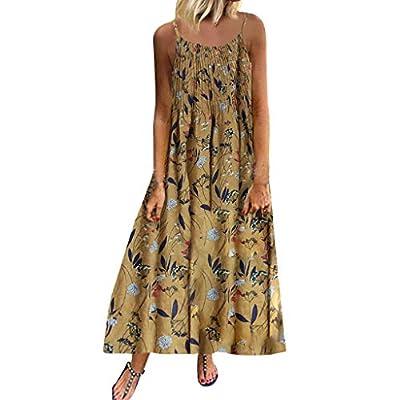 YFancy Womens Maxi Dresses Summer Plus Size Sleeveless Deep O-Neck Backless Casual Boho Floral Print Beach Long Dress