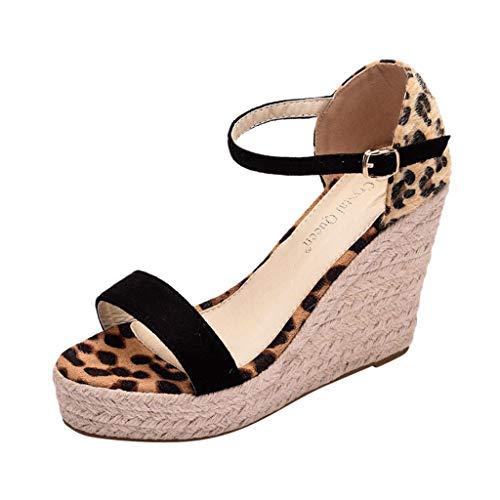- WENSYWomen'S Fashion Wild Word Belt Peep Round Fish Mouth Wedge with Large Size Waterproof Platform High Heel Sandals(Black,39)