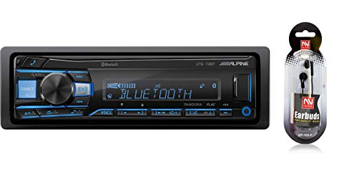 Alpine UTE-73BT in-Dash Single DIN MP3 AM/FM Receiver with Dual USB, Front Auxiliary, iPhone and Pandora Internet Radio, Variable Color Illumination, Digital Media Receiver/Free NUTEK - Alpine Radio Bluetooth