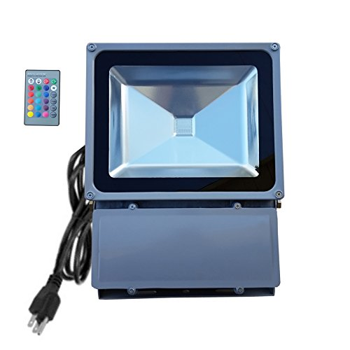 100W RGB Flood Light - TDLTEK 100W RGB Color Changing LED Flood Light/Spotlight/Landscape Lamp/Outdoor Security Light With[ Memory Function] and [Remote Controller]