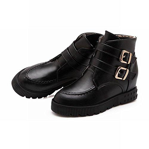 Carolbar Womens Herfst & Winter Gebruik Gespen Zoete Schattige Mode Verborgen Sleehak Korte Laarzen Zwart