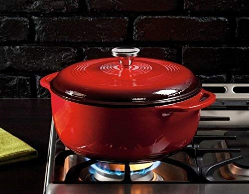 Lodge 6 Quart Enameled Cast Iron Dutch Oven. Classic Red Enamel Dutch Oven (Island Spice Red) by Lodge (Image #7)