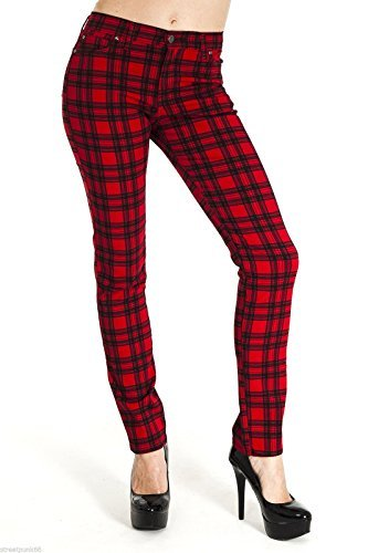 Vintage High Waisted Trousers, Sailor Pants, Jeans Run & Fly Womens Skinny Stretch Mid Rise Checkered Tartan Jeans Indie Retro $49.95 AT vintagedancer.com
