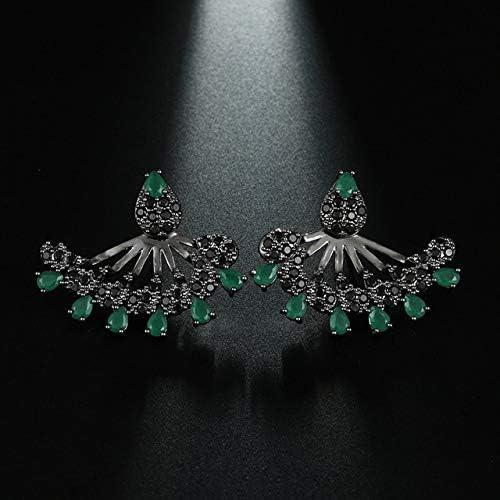 Pendientes de gota pequeños de piedra azul vintage para mujer Black Gun Rhinestone Gothic Punk Rock Earings Jewelry