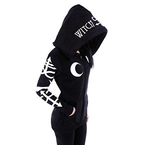 Print Zipper Hoodie Hooded Jacket Rocker Puck Black Sweatshirt Size L (Black) ()