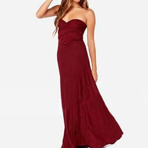 Rosso Lungo Elegante da Donna V Vestito Bonboho Vino Sera Collo cerimonia qWSA6nv