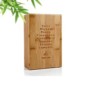 Premium Yoga Block By Yoga Era   100% Bamboo   Sturdy and Lightweight   Improve Strength   Flexibility & Balance  