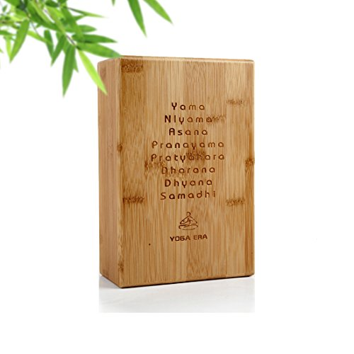 Premium Yoga Block By Yoga Era | 100% Bamboo | Sturdy and Lightweight | Improve Strength | Flexibility & Balance |