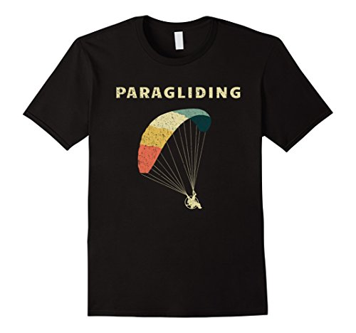 Mens Paragliding T-Shirt Vintage Fly Parachute Gift Large Black