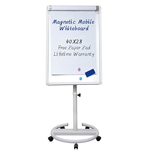 Mobile Dry Erase Board – 40x28 inches Magnetic Whiteboard by viatech