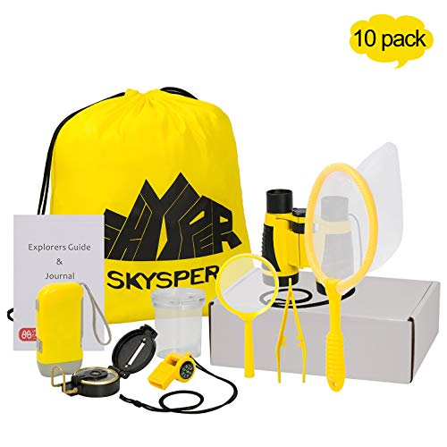 Skysper Outdoor Exploration Kit Kids, Nature Adventurer Education Toys Set ALII in Pack with Binoculars for Kids for Camping, Hiking, Pretend Play