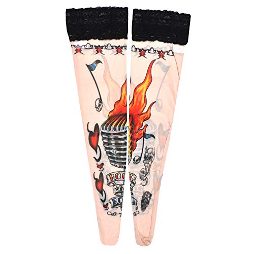 Women's Fake Tattoo Hold Ups Stockings Rock 'N' Roll Design (TS17)]()