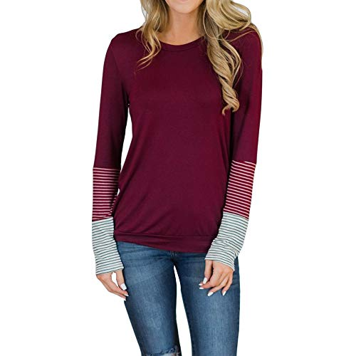 TOTOD Women T-Shirt Raglan Sleeve Patchwork Pullover Ladies Casual Lightweight Tops Sweatshirt Blouse Top