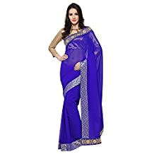 Taadrashya Women's lace border georgette saree with blouse piece material
