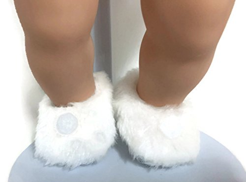 (Dori's Doll Boutique White Fuzzy Slippers with Pom Poms Shoes for 15 inch Bitty Baby and Bitty Twin Dolls)