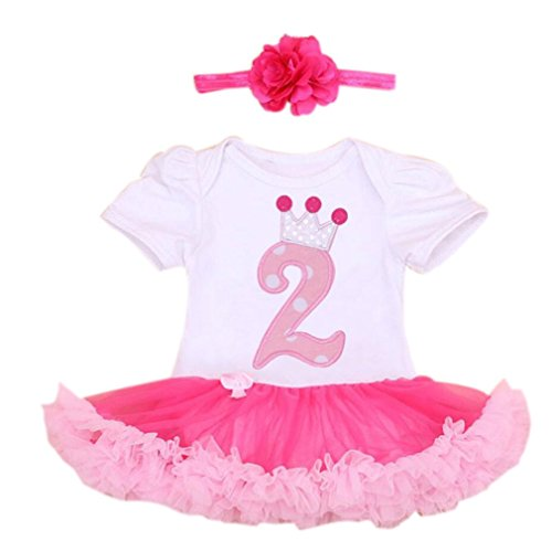 2PCs de Marlegard Baby Girls por juego 2do cumpleaños con diadema para 24M (rosa blanca)