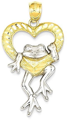 Yellow Gold Frog Pendant - ICE CARATS 14k Yellow Gold Frog In Heart Pendant Charm Necklace Love Animal Fine Jewelry Gift Valentine Day Set For Women Heart