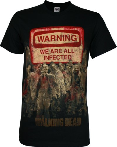 The Walking Dead Warning Sign Men's T-Shirt, Black