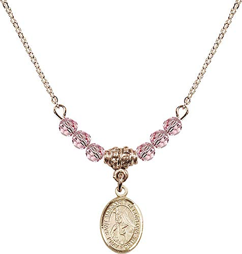 18-Inch Hamilton Gold Plated Necklace with 4mm Light Rose Birthstone Beads and Saint Margaret of Cortona Charm. Patron Saint of - 4 Cortona Light