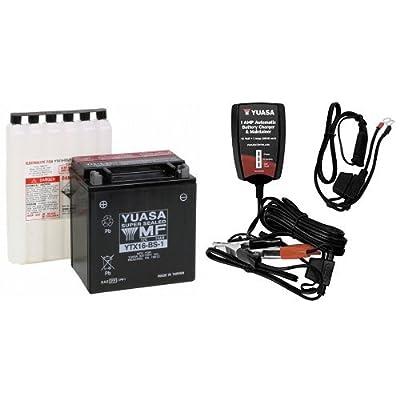 Yuasa YUAM32X61 YTX16-BS-1 Battery and Automatic Charger Bundle