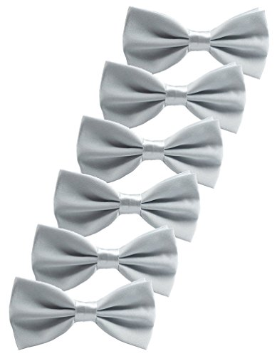 Udres 6 Pack Solid Bow Tie Satin Pre-tied Bowtie for Wedding Party (One Size, Silver)]()