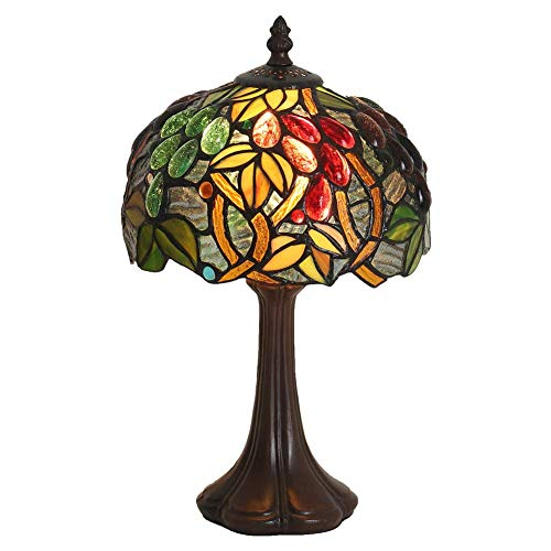 (Tiffany Style Lamp 1-Light 8 Inch,Stained Glass Shade and Zine-Alloy Pull Chain Base,E12 Gear Switch 14.5