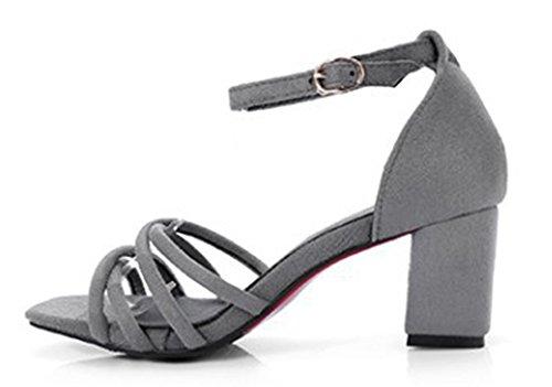 Aisun Grau Sandalen Square Trendy Heels Chunky Toe Frauen Mitte SqS8BrUn