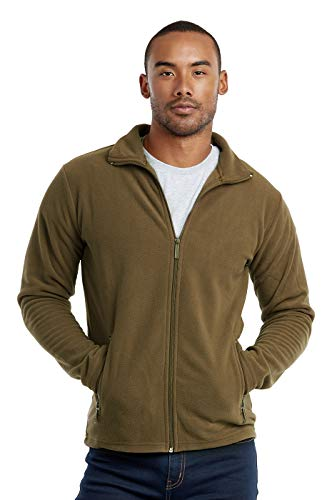 Men's Polar Fleece Zip Up Jacket (S, Olive)