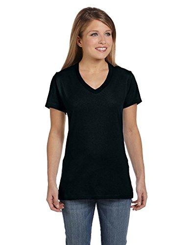 Hanes Women's Nano V-Neck T-Shirt Black Medium