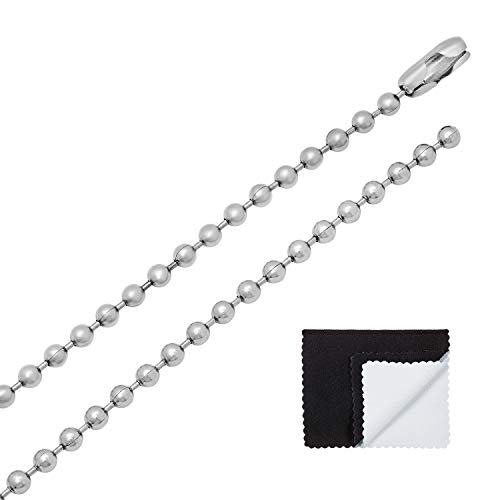 The Bling Factory 3mm Durable Stainless Steel Pelline Style Ball Chain Necklace, 18