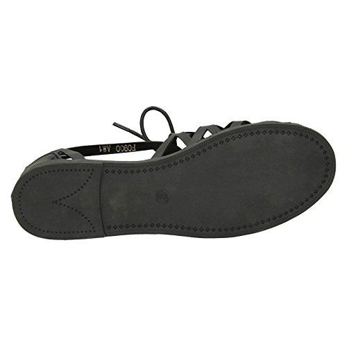 Lace Up Strappy Black Ladies Savannah Sandals AqRFzwY