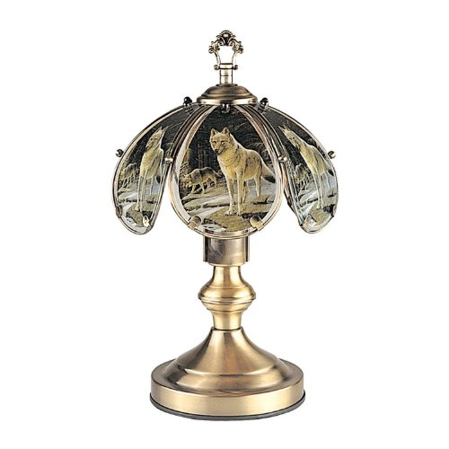 Wolf The Touch Of - OK Lighting OK-603AB-WO 14.25-Inch Touch Lamp with Wolf Theme, Antique Bronze