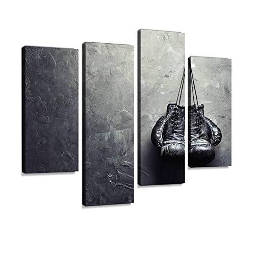 Old Boxing Gloves Nailed to The Textured Wall Canvas Wall Art Painting Pictures Modern Artwork Framed Posters for Living Room Ready to Hang Home Decor 4PANEL 12' Black & White Framed