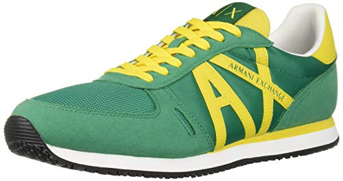 A|X Armani Exchange Men's Lace Up Sneaker with Logo, Ultra Marine + Lemon, 11 US