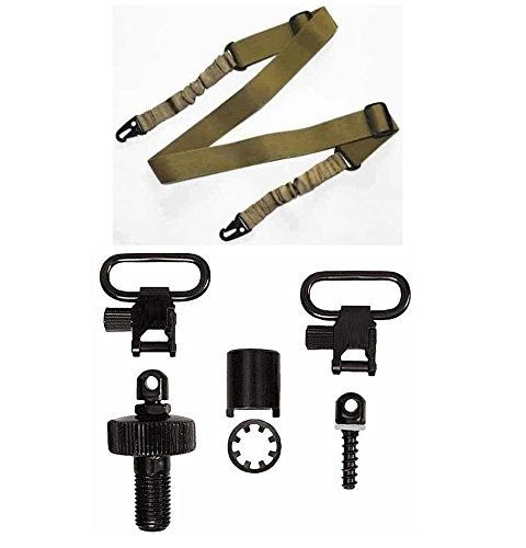 Ultimate Arms Gear Mossberg 500/500A/Maverick 88 12 Gauge Replacement Cap Swivel Base + 3/4 Wood Stock Screw + Two QD Quick Detach 1