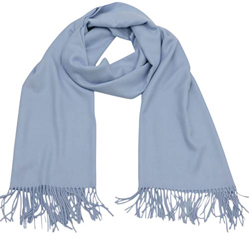 CJ Apparel Baby Blue Thick Solid Color Design Cotton Blend Shawl Seconds Scarf Wrap Pashmina NEW
