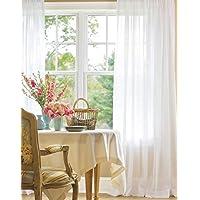 Belle Cose Keten Görünümlü Kullanıma Hazır Düz Kırık Beyaz Tül Perde-Kırık Beyaz-850X250 cm