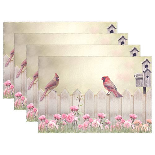 - ALAZA Cardinal Placemats Dining Table Heat Resistant Kitchen Table Decor Washable Table Mats Set of 6