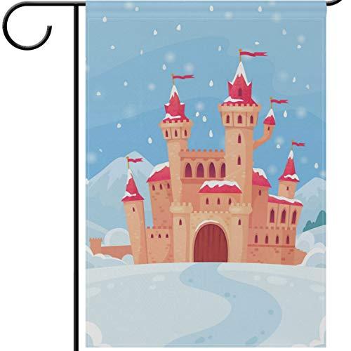 OREZI 12 x18 Inches Christmas Garden Flag,Fairy Tales Winter Castle Winter Double Sided Garden Flag Decorate House Yard Flag Outdoor Durable Seasonal Flag