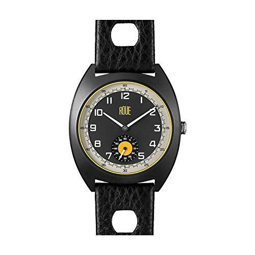 Roue SSD Two Watch with Seconds Sub dial, 1960s Racing Style, 41.5mm Sand Blasted Black PVD case, Soft Leather + Nylon Front/Leather Back Straps, Sapphire Crystal with Anti-Reflective Treatment - Watch Case Tonneau