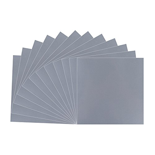 Metallic Silver Grey Vinyl Sheets - 12 Pack 12