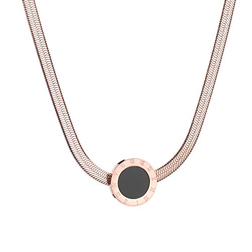 WillBeFond Stainless Steel Necklace for Women - 18K Rose Gold Plated Fashion Necklace- Round Pendant& Snake Chain ()