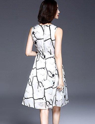 PU&PU Robe Aux femmes Trapèze Simple,Imprimé Col Arrondi Mi-long Polyester , white-2xl , white-2xl