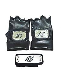 Jebester Naruto Headband, Leaf Village Headband and Cosplay Gloves Hatake Kakashi Ninja Cosplay Accessories Black